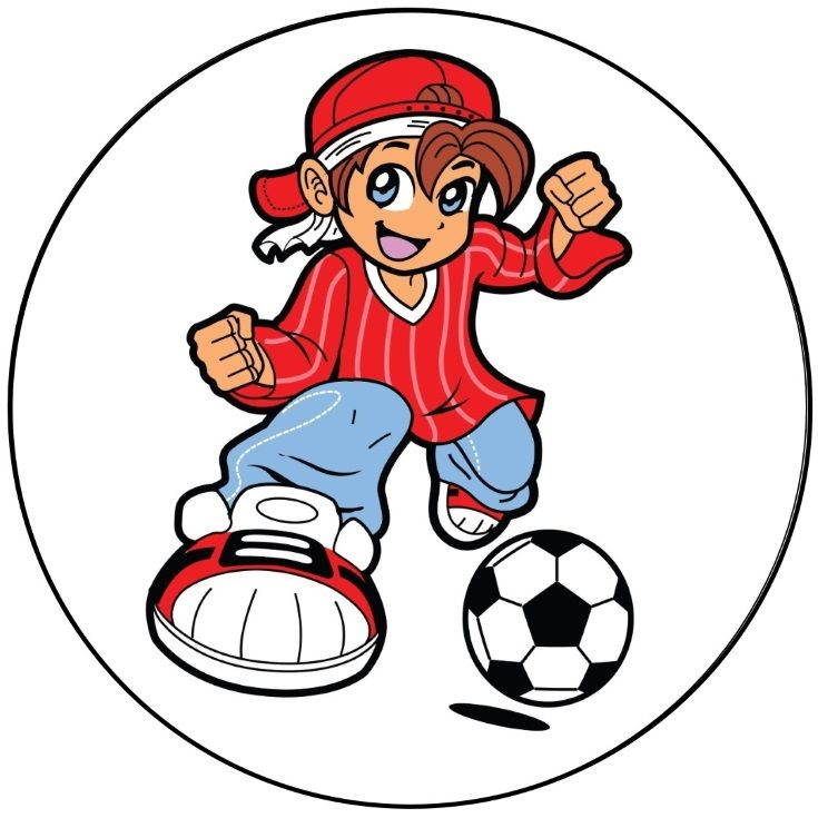 Anime Soccer Player Button Kids Canvas Painting Kid Kick Kids Clipart