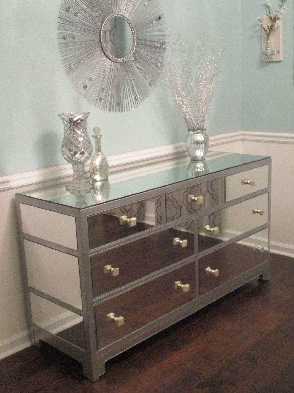 Mirrored Dresser Or Buffet Silver Modern Mirror Dresser Rustoleum Metallic Silver By Mirroredjewels On Et Dresser With Mirror Dresser As Nightstand Furniture