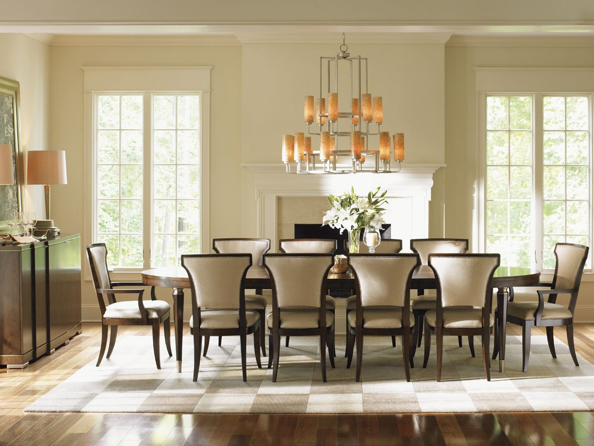Lexington Tower Place 11 Piece Formal Dining Set With Seneca Married Fabric  Sidechairs   Becker Furniture World   Dining 7 (or More) Piece Set Twin  Cities, ...