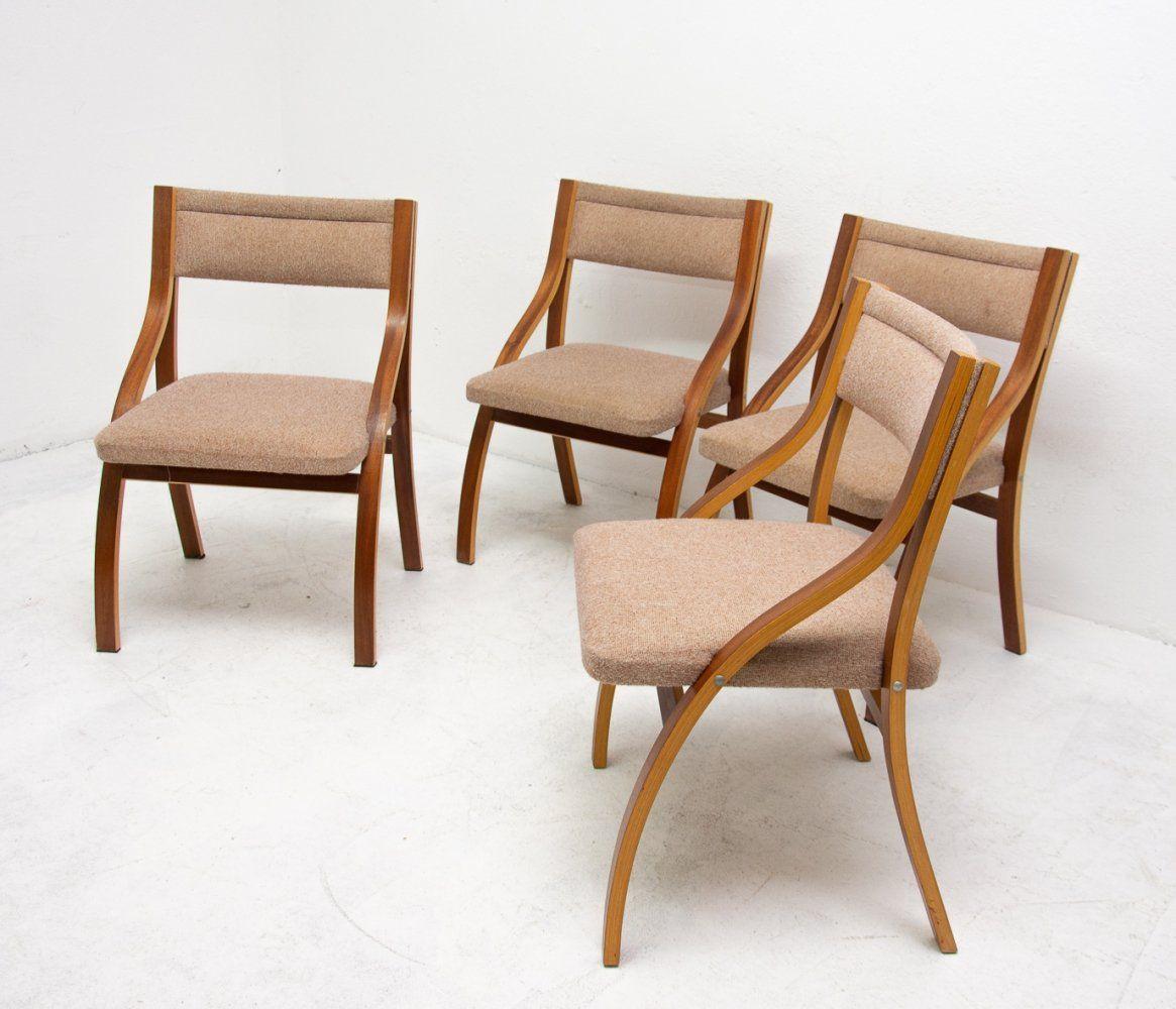 Set of 4 dining chairs by Ludvík Volák for Dřevopodnik