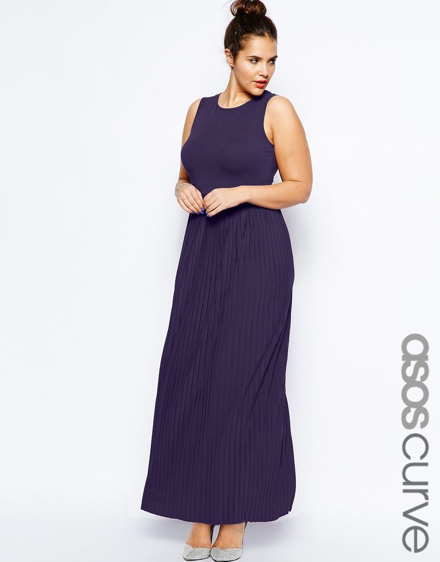 ASOS CURVE Exclusive Maxi Dress With Pleated Skirt