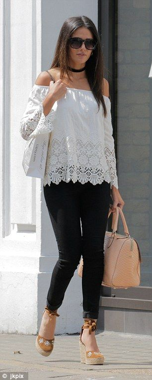 25f2db362831f Standing out  The former Coronation Street star completed her spring  ensemble with a pair of tan wedge espadrilles and pink handbag