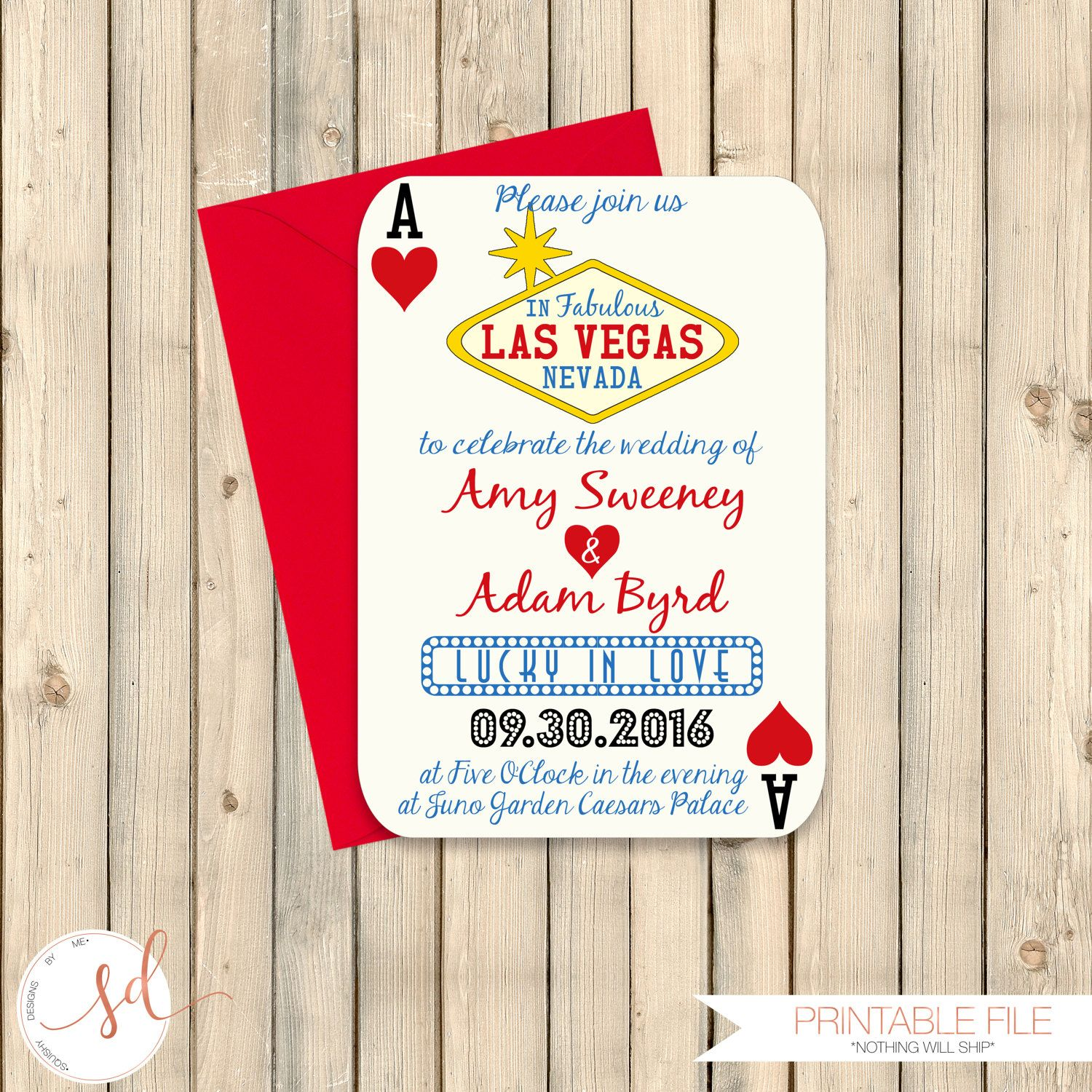 Las Vegas Wedding Invitation, Poker Playing Card Vegas Wedding ...