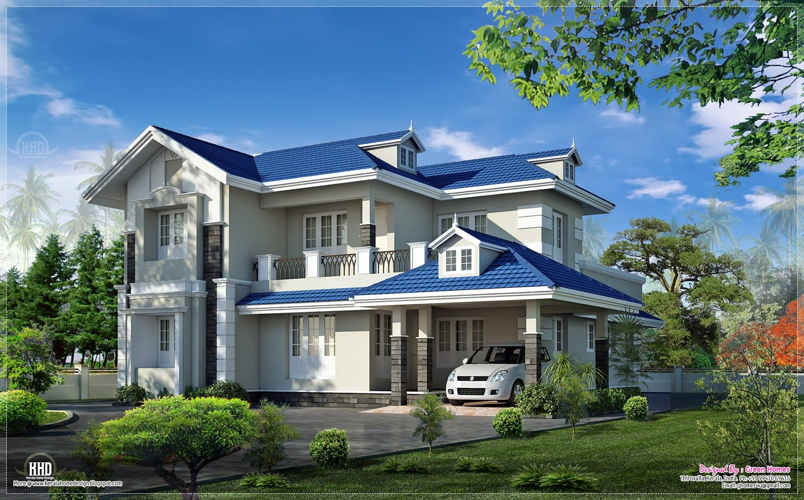 beautifully designed 4 bedroom villa in 2400 square feet by green homes thiruvalla kerala - Beautifully Designed Homes