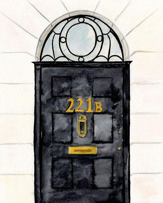 Sherlock Door Art Print || sherlock holmes, 221b baker street, nerdy art print, classic book lover, sherlock, original watercolor painting