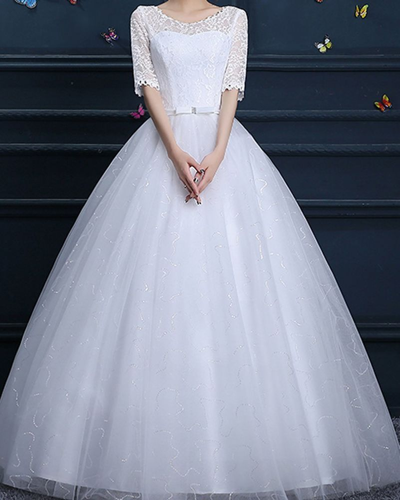 Bridal wedding gown lace flower princess tulle white dress charming
