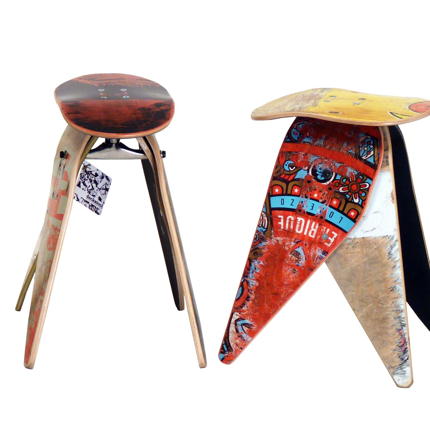 Diy Skateboard Design: Very Cool Stools Made From Trashed Skateboards / Great Way