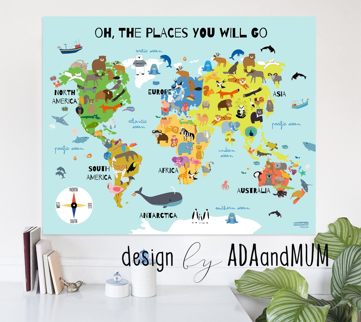 Animal planet world map for kids continents oceans animals animal planet world map for kids continents oceans animals compass gumiabroncs Images