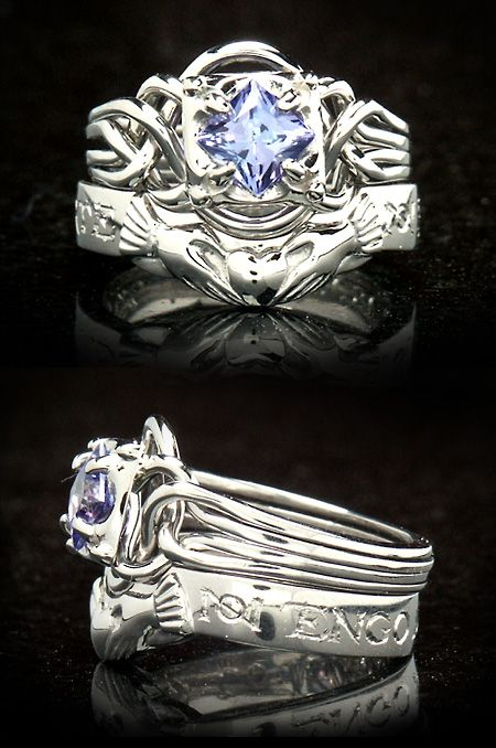 A True Working Puzzle Ring Bears Tanzanite And Pairs With Contoured Companion Band All Shown In Palladium Platinum Family Metal