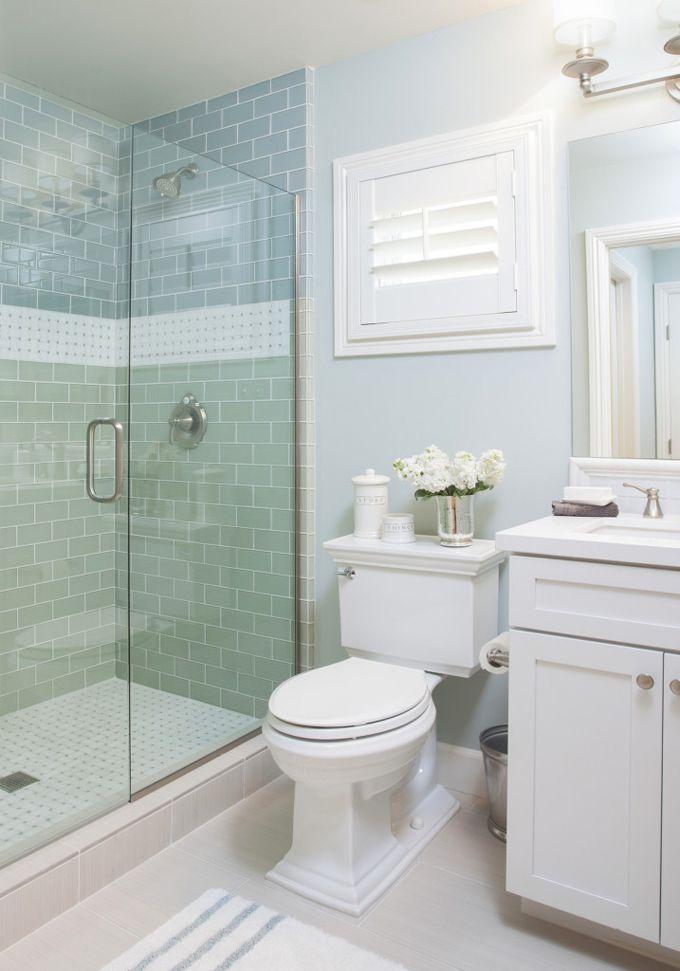 coastal bathroom with aqua blue subway tile AGK Design Studio