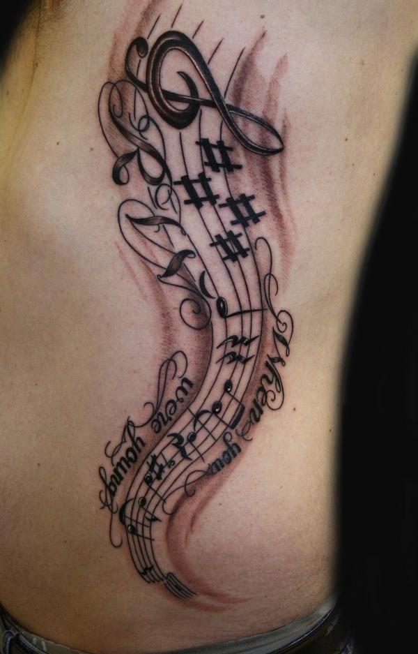 Tatuajes Partituras Musicales 50 cool music tattoo designs and ideas   tattoos   pinterest