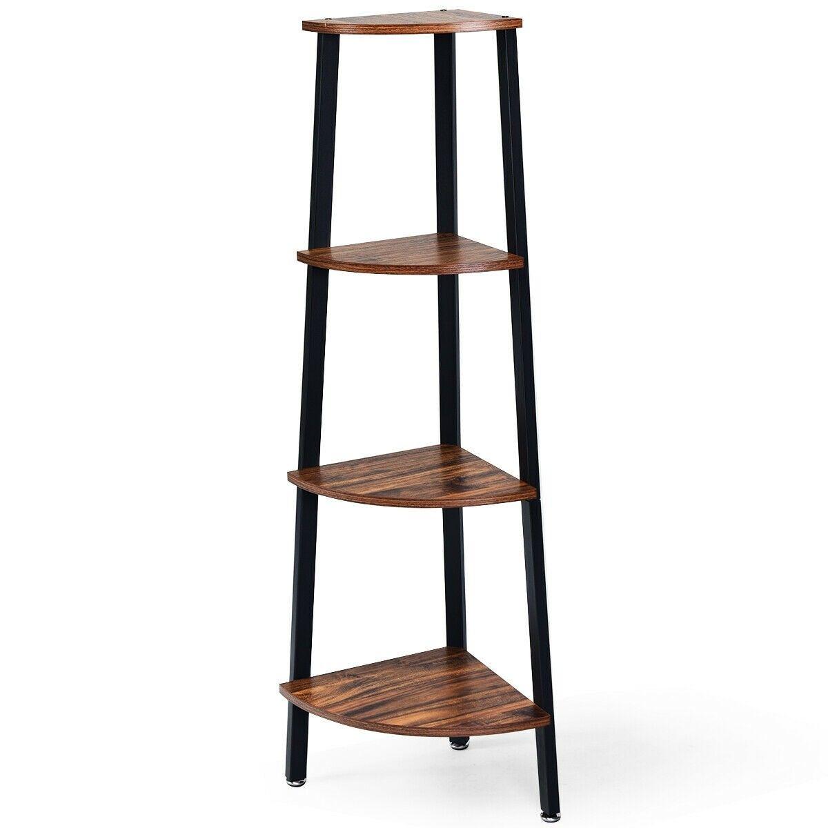 4 Tier Corner Shelf Metal Storage Rack Domestic Bookcase With