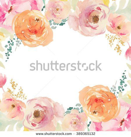 Peach And Orange Watercolor Flower Frame Floral Background Painted