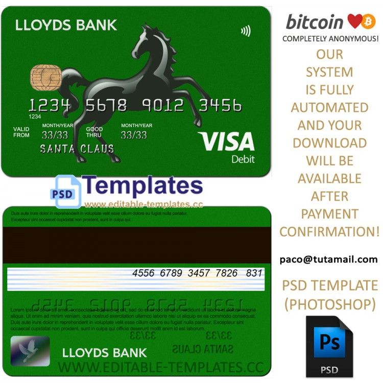 Fully Editable Lloyds Credit Card Psd Template Credit Card Statement Visa Credit Card Credit Card Hacks