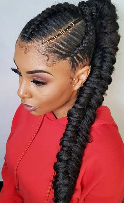 23 New Ways To Wear A Weave Ponytail Hair Styles Ponytail Hairstyles Goddess Braid Styles