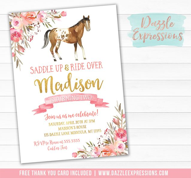 Printable Pink And Gold Appaloosa Horse Birthday Invitation