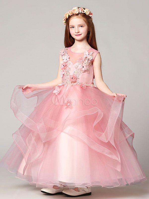 2b167fcbe5 Flower Girl Dresses Ball Gown Organza Floor Length Applique Soft Pink Kids  Pageant Dresses