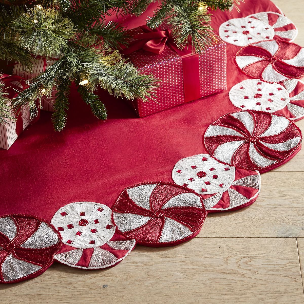 Beaded Peppermint Tree Skirt Christmas tree skirts