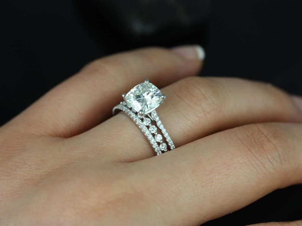 We Are Loving The Mix And Match Stackable Band Trend Subtle Shared Prong Setting Off Cushion Center Stone Matching