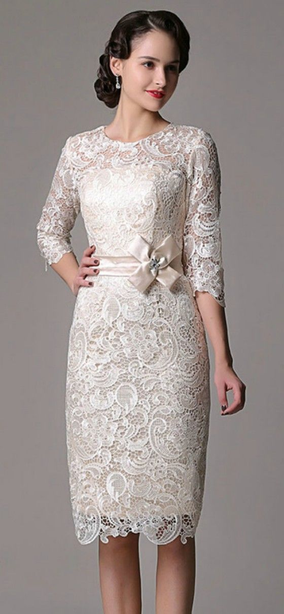 Informal Wedding Dresses For Older Brides: Elegant Sheath High Neck Knee-length Lace Wedding Dress