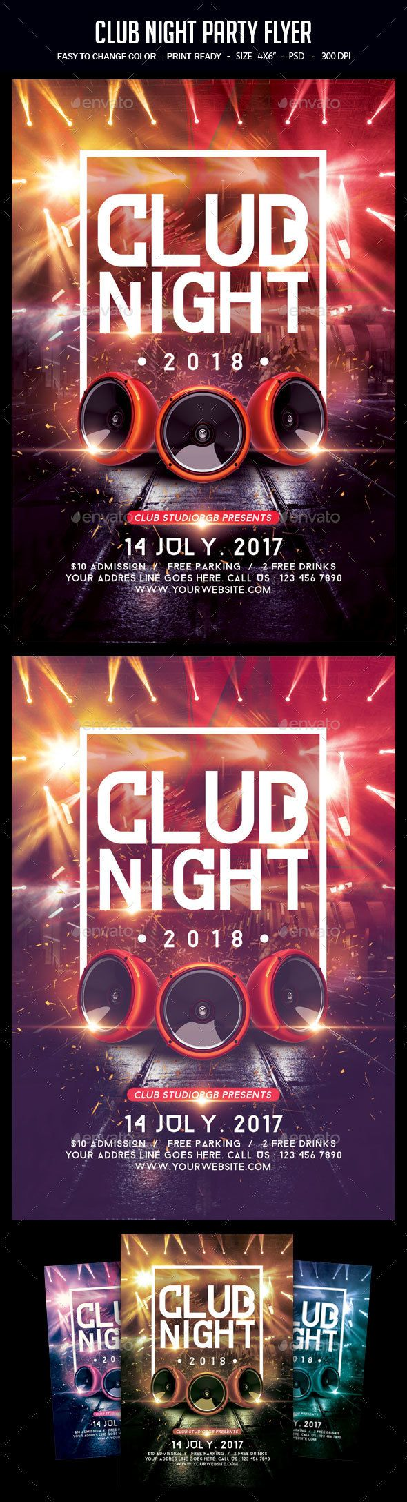 Club Night Party Flyer | Party flyer, Night parties and Invitation ...