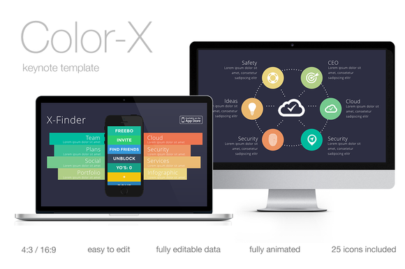 check out color-x keynote templatefreebo on creative market, Powerpoint templates