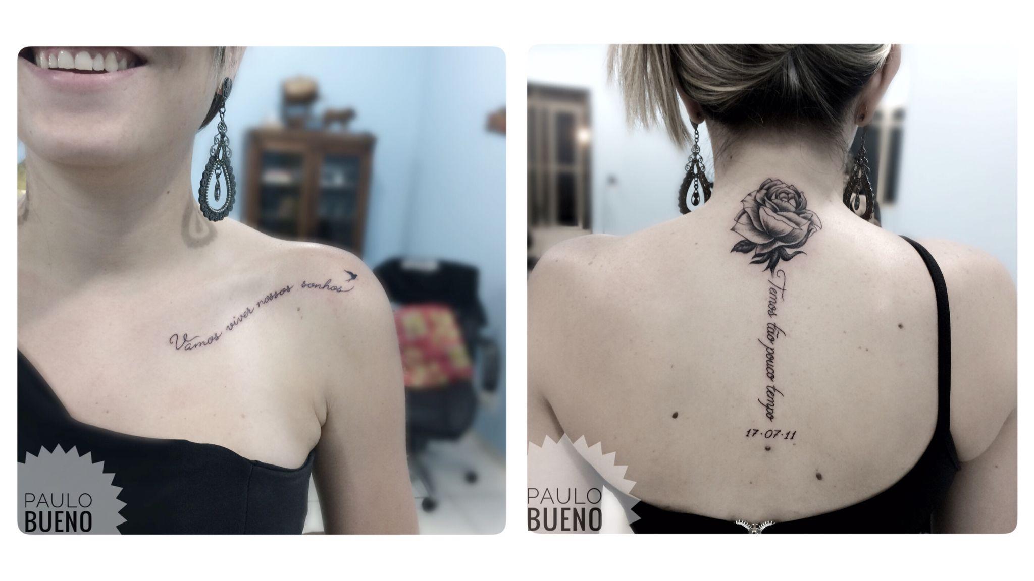 Vamos Viver Nossos Sonhos Temos Tão Pouco Tempo Tattoo Rosa Com