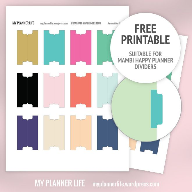 Free Printable Divider Tabs Happy Planner Free Printable Planner Tabs Planner Printables Free