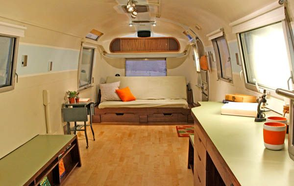 Challenging Open Floor Plan In Airstream Renovation Project Video Freshome Com Airstream Interior Airstream Remodel Airstream Renovation
