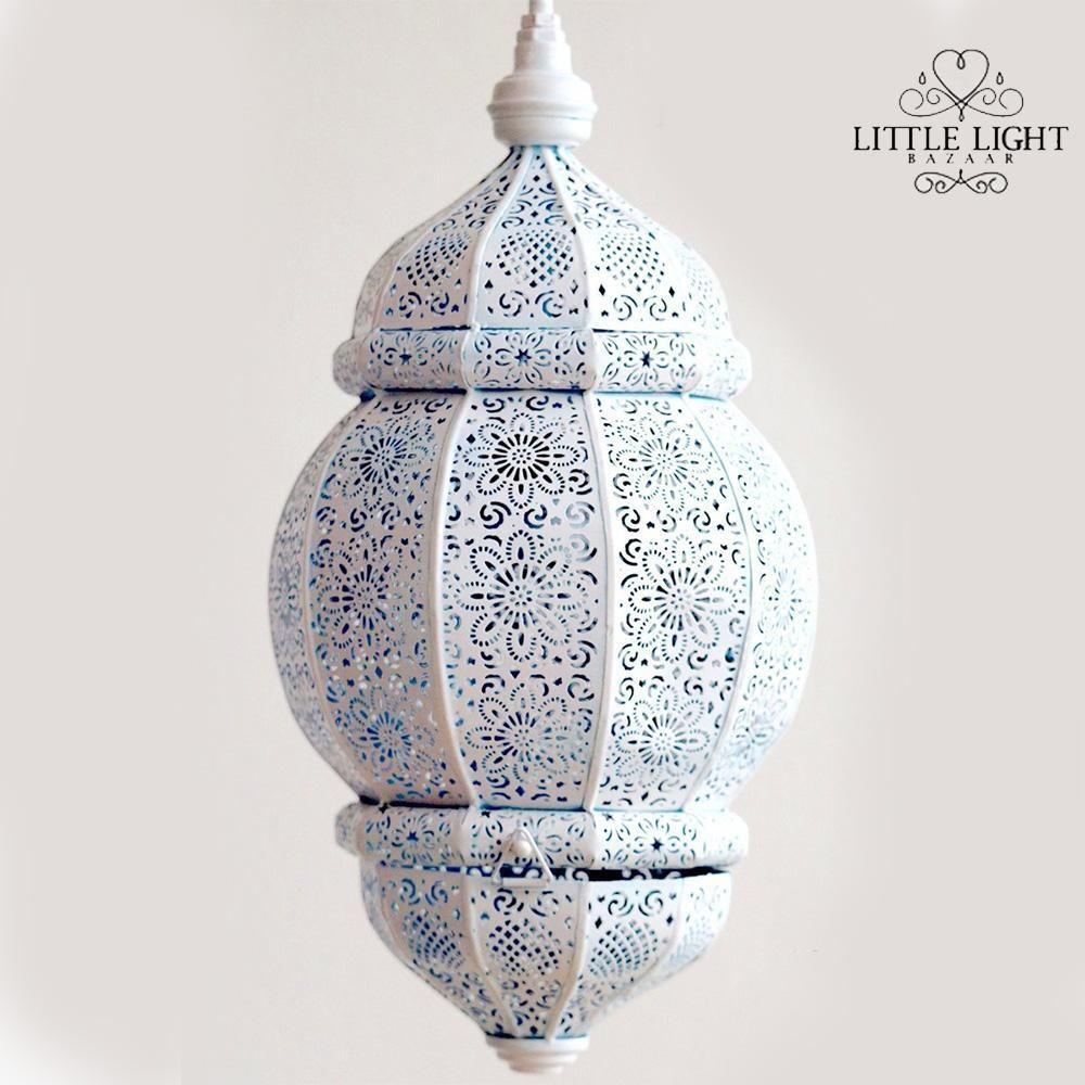 Rani Moroccan Lantern White With Gold Inside Moroccan Lighting