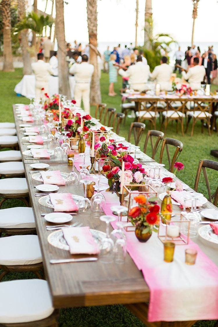 Vibrant Beach Wedding Reception Decor With Images Mexican