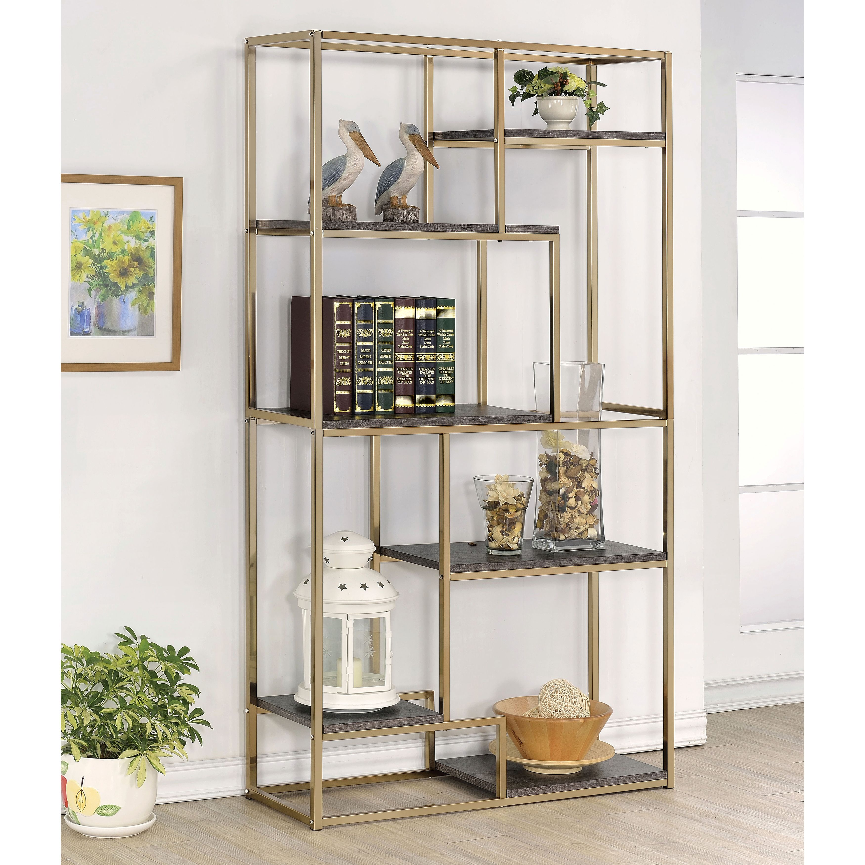 Add A Metallic Accent To Your Home With This Statement Bookcase Choose From Chrome Or Champagne Enhance The Shined Metal Framework While Six