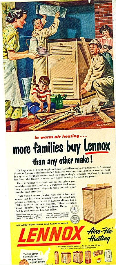 Vintage Heating Ad 1950 Lennox Heating Furnace Ad Dave Mink Art