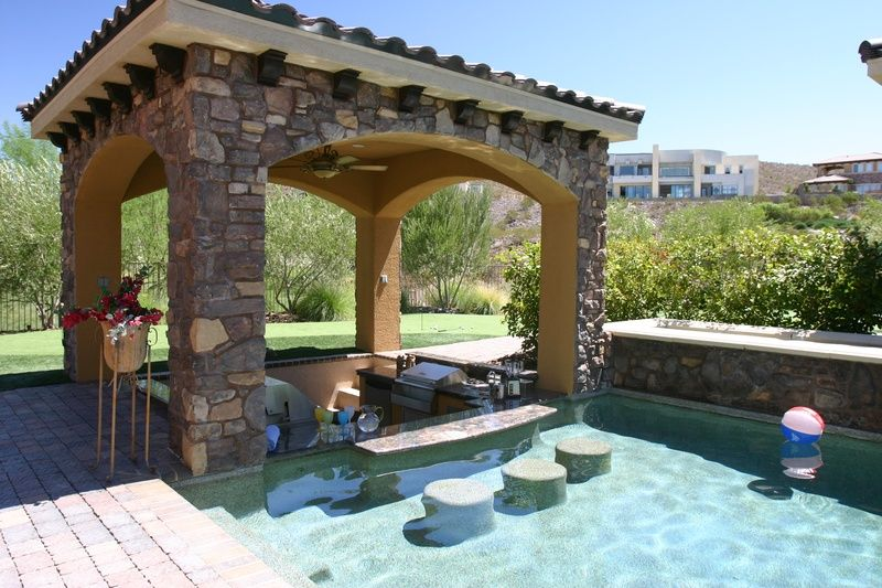 Residential Pool Designs banner3 Cool Outdoor Kitchen By Pool With Swim Up Bar By Paragon Pools