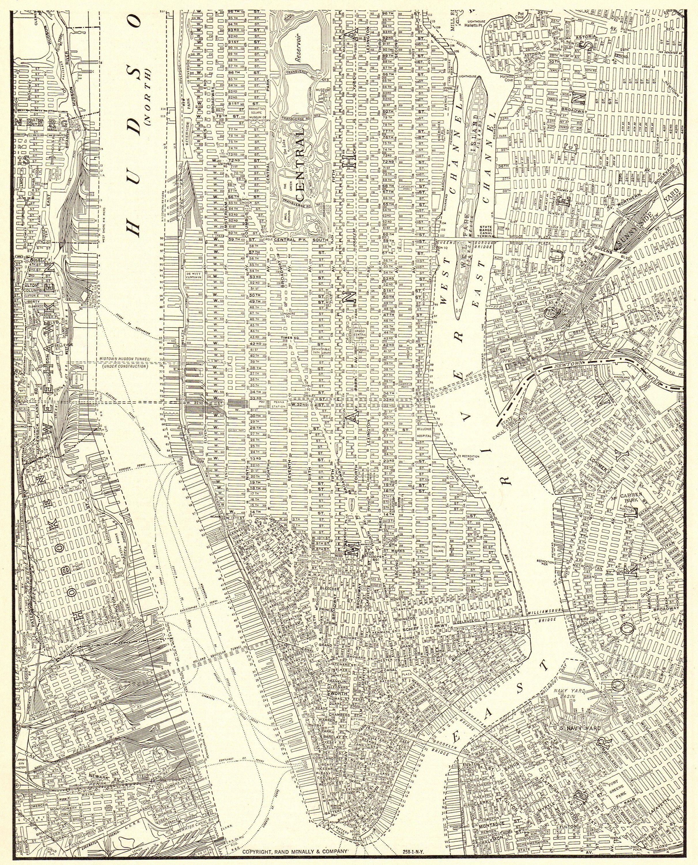 1937 Antique Map Of Manhattan Map Vintage New York City Map Modern Decor Black And White Gallery Wall Art Annivers Manhattan Map New York City Map Map Wall Art