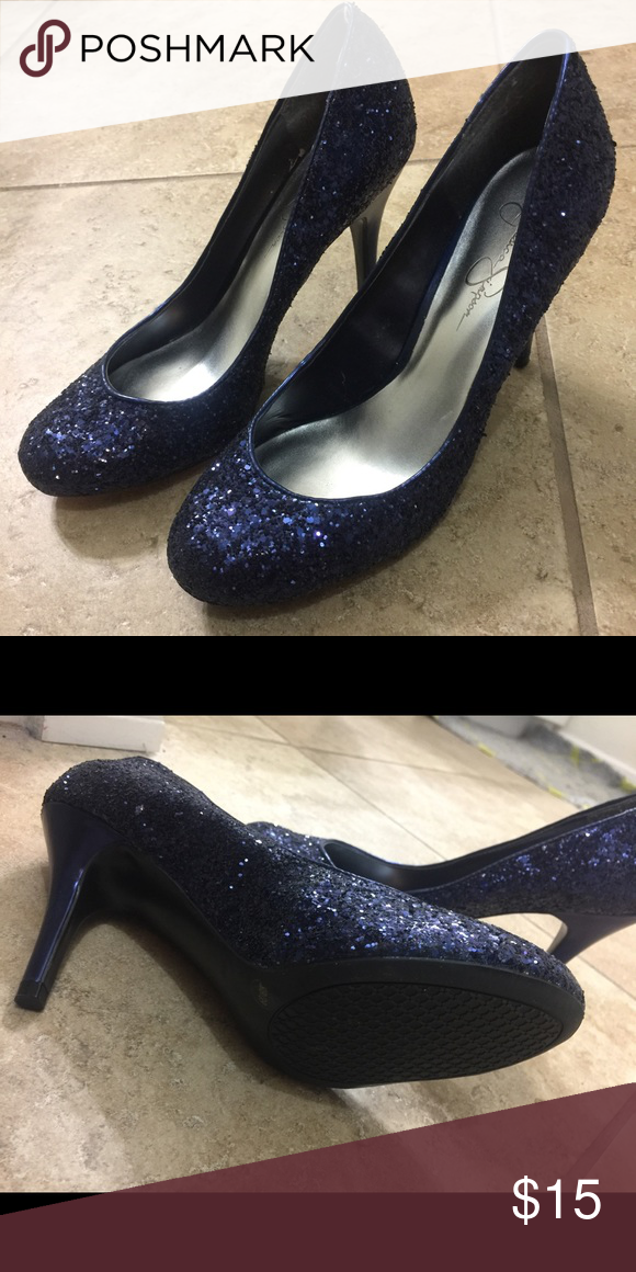 Jessica Simpson blue glitter pumps size 9 Size 9, in great shape, only work once indoors. Looks new. Jessica Simpson Shoes Heels