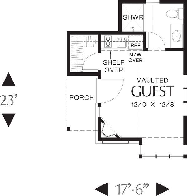 Tudor Style House Plan 1 Beds 1 Baths 300 Sq Ft Plan 48 641 Cottage Floor Plans House Plans Cottage House Plans