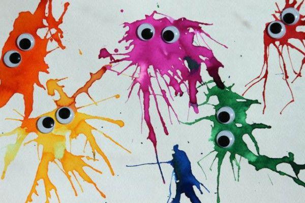 Basteln Mit Kindern Wasserfarbenmonster Basteln Pinterest
