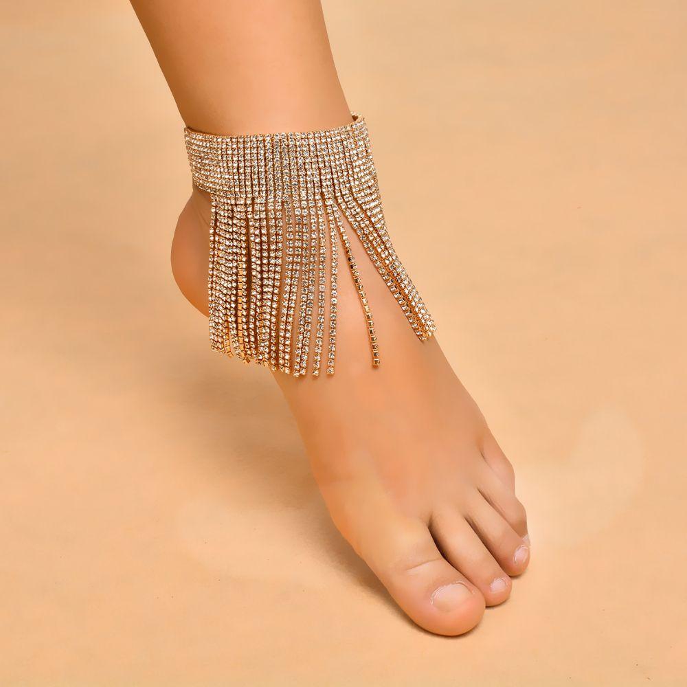 Us ingesightz sexy women long tassel crystal anklets charm