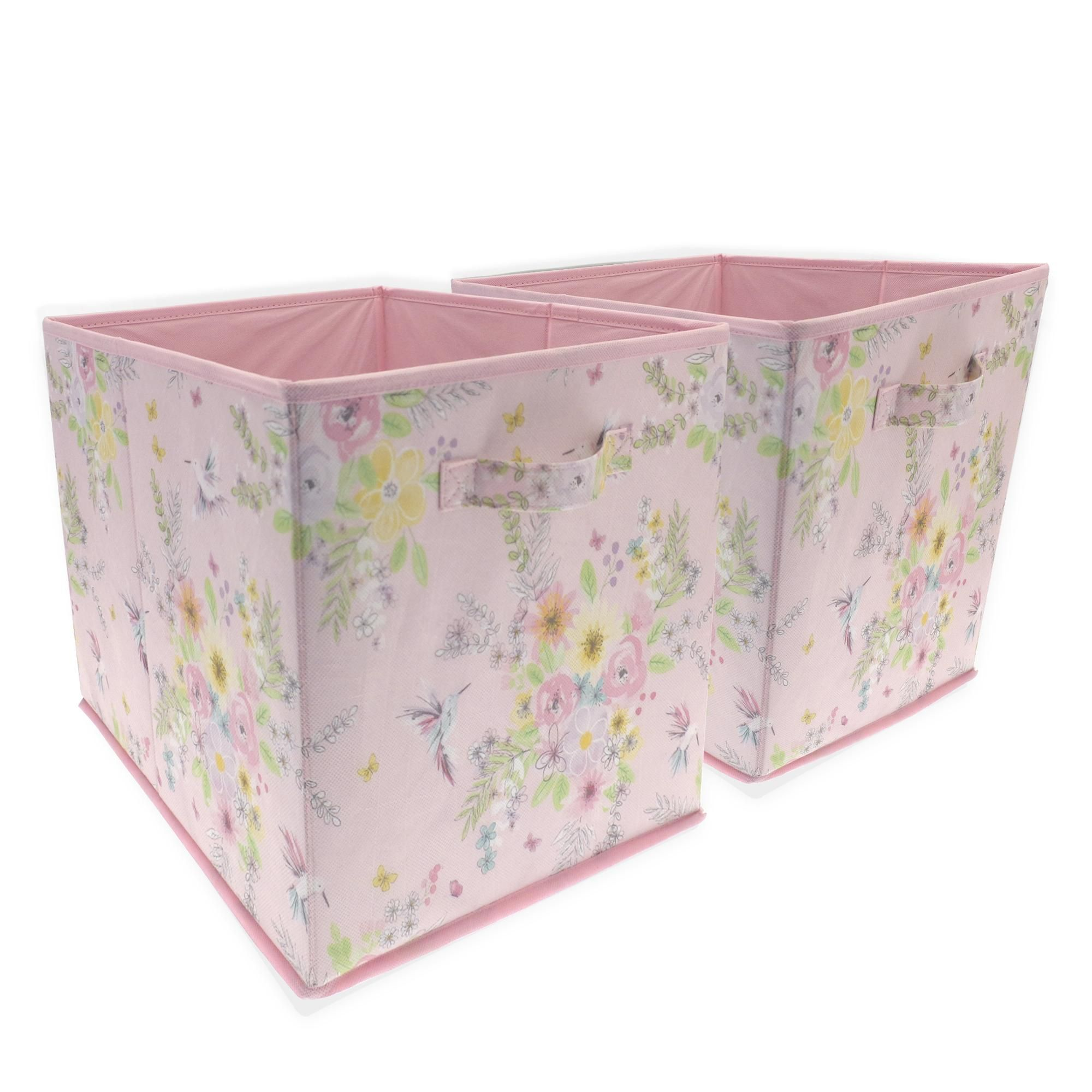 Dunelm Pink Little Hummingbirds Pack Of 2 Storage Cubes Cube