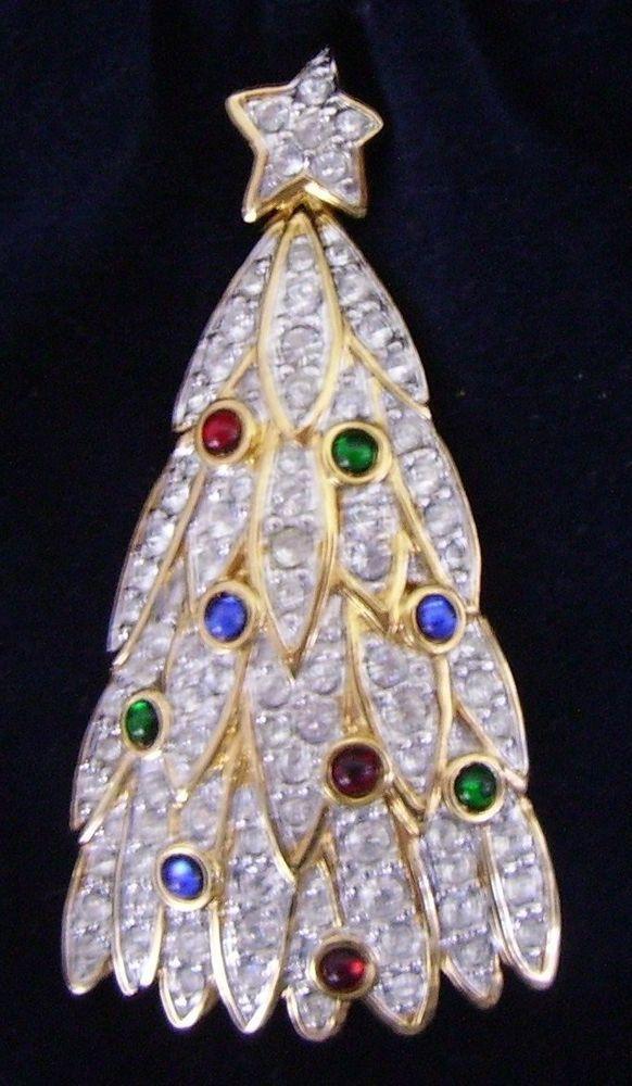 1998 Signed Swan Swarovski Pave Cabachon Christmas Tree Brooch Pin