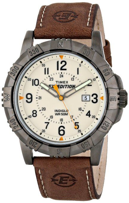 f21464d64308 Timex T49990 Expedition Rugged Metal Analog Watch w  Leather Band   Beige  Dial