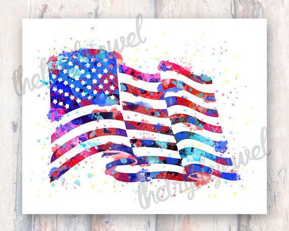 American Flag Splatter Print Watercolor Design By Thetriplejewel