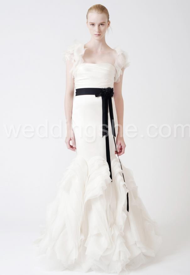 Fashion-forward Sheath Strapless Zipper-up Back Ruffled Wedding Dress : Weddingshe.com