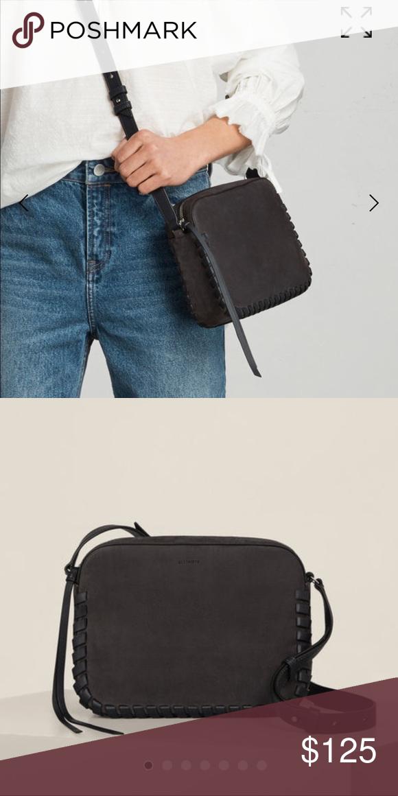 44bc64184e1 All saints Kepi lea mini Crossbody bag Dark charcoal gray color used once  All Saints Bags Crossbody Bags