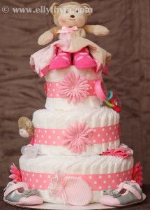 Pink Theme Monkey Diaper Cake
