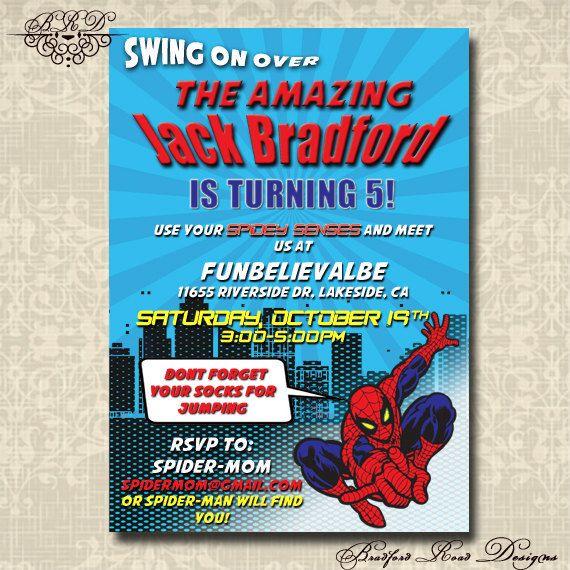 The Amazing Spiderman Spider-man Birthday Invitation Customizable DIY 5x7 Photo Invite