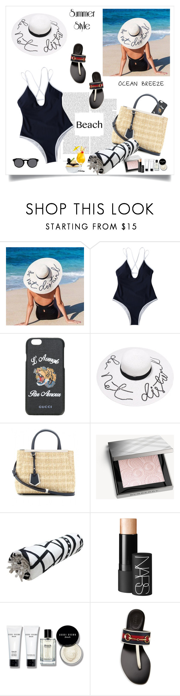 """Sun's Out: Beach Day♥♥♥#"" by marthalux ❤ liked on Polyvore featuring Gucci, Burberry, NARS Cosmetics, Bobbi Brown Cosmetics, Valentino, sun, beach and summertime"