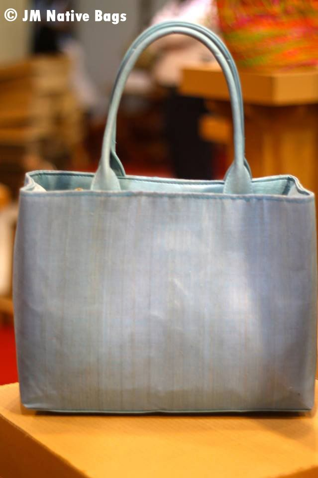 Double compartment bag. 13.5''W + 11''L **Made of cotton cloth abaca material with the combination of leatherette.