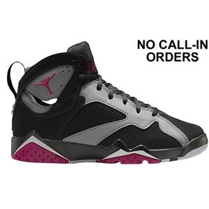 Jordan Retro 7 - Girls' Grade School - Black/Sport Fuchsia/Cool Grey